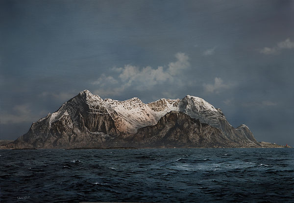 Runde Island, Norway, 20x30 inches oil on canvas painting by Robert G Lloyd for sale