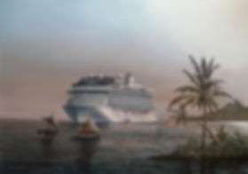 Oceania Cruises MS. Marina in French Polynesia. Oil on canvas painting 25x35 inches by Robert G Lloyd Marine Artist. England