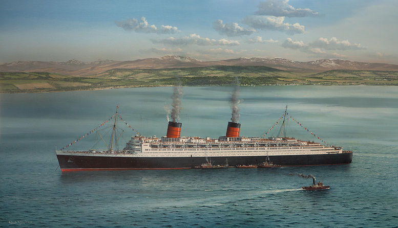 RMS Queen Elizabeth on the Clyde fin at limited edition print