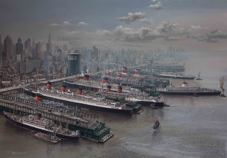 New York c.1957 Luxury liner row fine art limited edition print