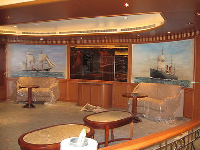 Installation of murals onboard Queen Victoria
