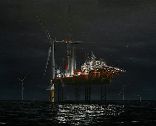 GMS Endeavour at night. Jack up barge pictured in operation. Oil painting by Robert G Lloyd. England
