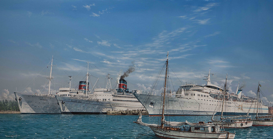 Sunward, Bahama, Ariadne pictured in the Bahamas, oil on canvas painting by Rober G Lloyd