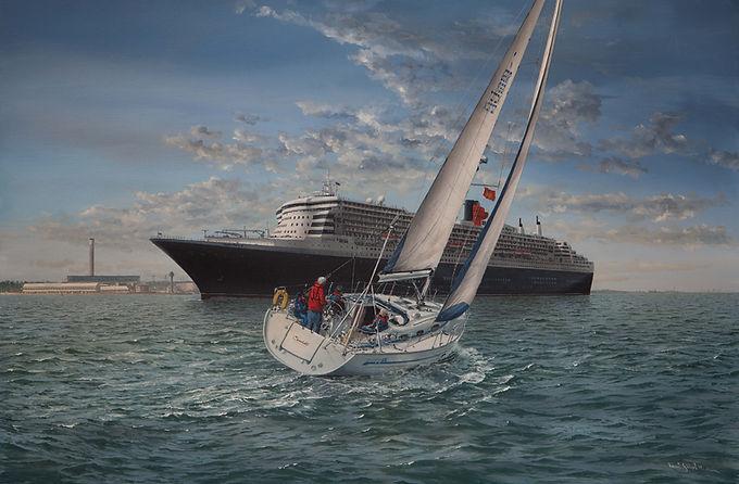 Scarlett and QM2 off Calshot, Cunard Line. Painting by Robert G Lloyd, England