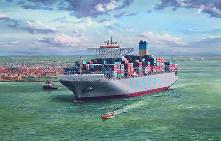 COSCO Glory at Vlissingen, oil painting on canvas by Robert G Lloyd