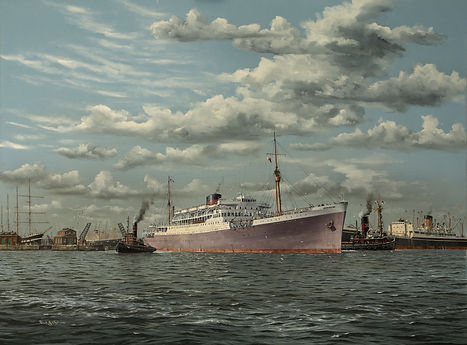 Union Castle ship sailing from London, oil on canvas painting