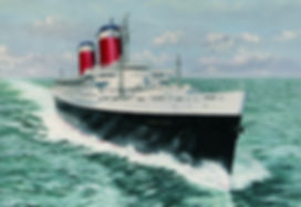 The SS. United States pictured during her speed trials, oil on canvas painting
