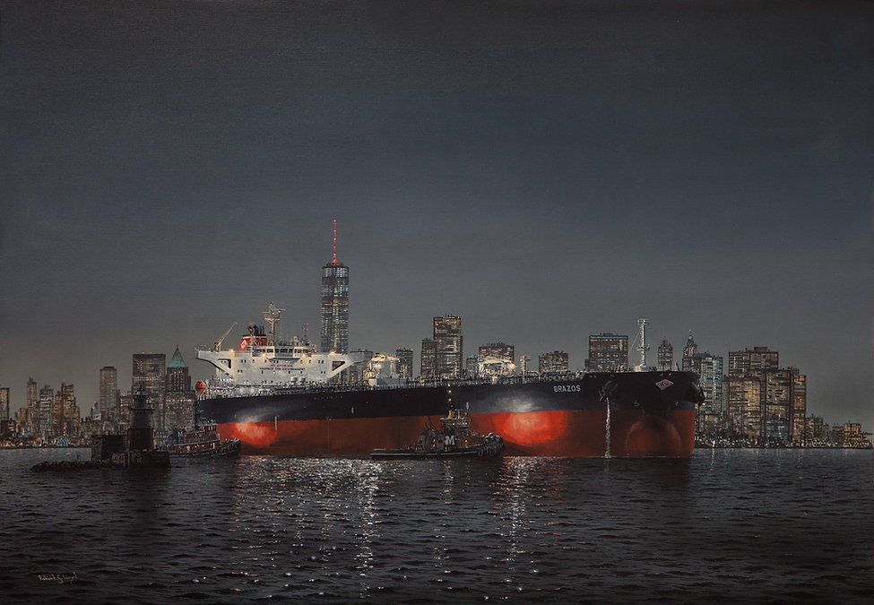 MT Brazos at New York, Diamond S. Shipping. USA, oil on cavas painting 25x35 inches