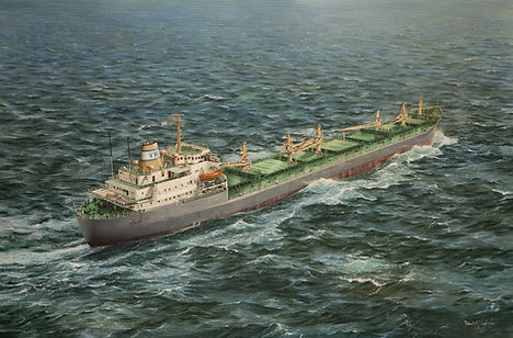 Bulk carrier Stalo V viewed from the air, oil on canvas painting