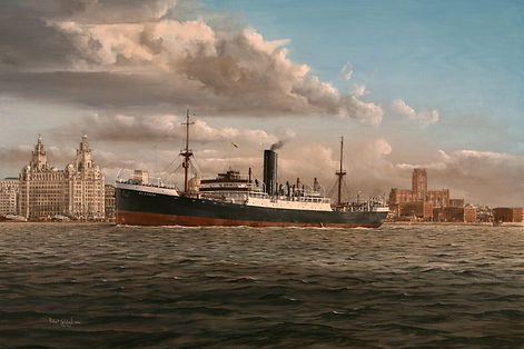SS. Eleanor on the River Mersey, oil on canvas painting
