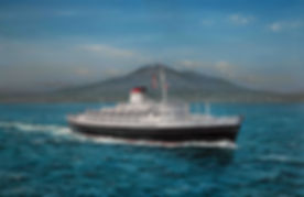 Andrea Doria pictured sailing from Naples, painting oil on canvas by Robert G Lloyd
