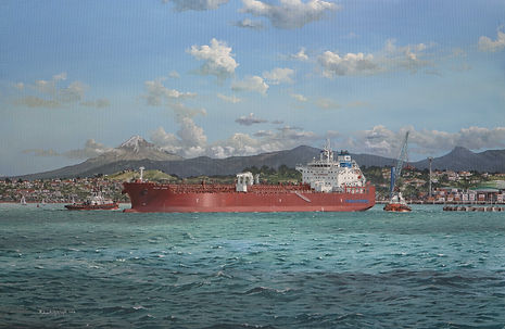 Waterfront Shipping Mari Jone in New Zealand, oil paintng on canvas by Robert G Lloyd Thome Shipmanagement, Singapore