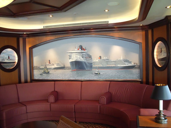 Three Queens mural on board MS. Queen Elizabeth Commodore Club