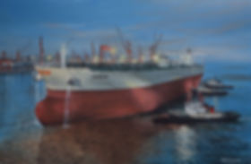 The VLCC Kondor sailing from her builders in China, oil on canvas paintng by Robert G Lloyd