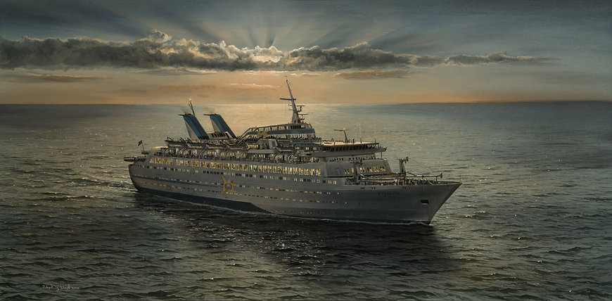 MS. Starward approaching Miami at Dawn, oil painting by Robert G Lloyd. England