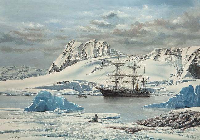 RRS Discovery pictured in the Antarctic in 1905, 20x30 inche oil on canvas original painting for sale by Robert G Lloyd