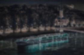 Uniworld SS.Catherine at night Lyon. Uniworld painting by Robert G Lloyd. England