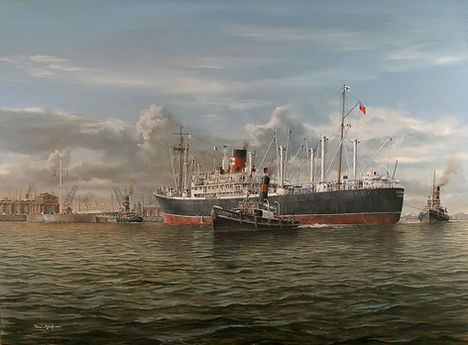 A New Zealand Shipping Company vessel arriving in London, oil on canvas painting