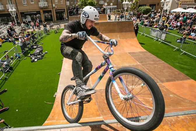 BMX Rider Riding Spine Ramp