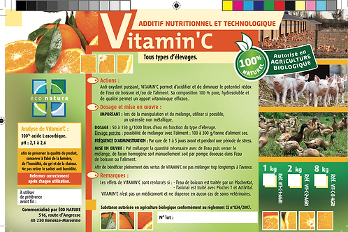 Vitamine C  ANIMAUX -  2kg ou 8kg