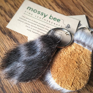 seal fur keychains with smoked moosehide leather backing