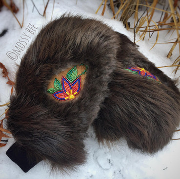 women's beaver fur mitts with beaded inlays and smoked moose hide leather palms