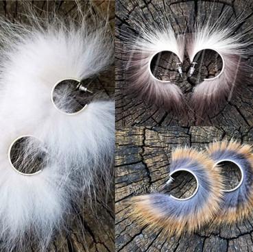 sterling silver hoop earrings with Canadian fur