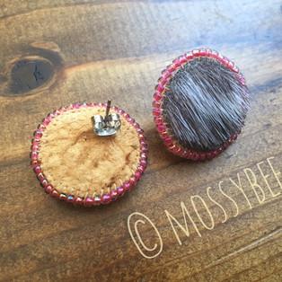 beaded seal fur stud earrings with smoked moosehide leather backing
