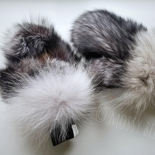 women's silver fox fur mitts with wolf fur trim and smoked moosehide leather palms