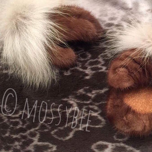 women's mink fur mitts with wolf fur trim and smoked moosehide leather palms