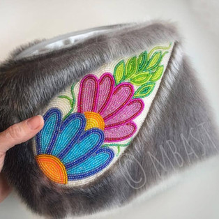 beaded sealskin clutch bag with smoked moosehide beaded leather strap