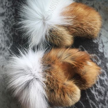 women's red fox fur mitts with wolf fur trim and smoked moosehide leather palms