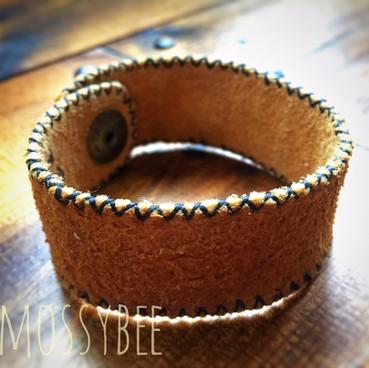 smoked moosehide leather bracelet