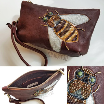 original design - vegetable tanned deer leather clutch purse with beaded 'bee' inlay