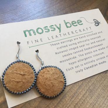 beaded smoked moosehide leather earrings