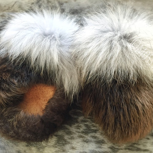 women's beaver fur mitts with wolf fur trim and smoked moose hide leather palms