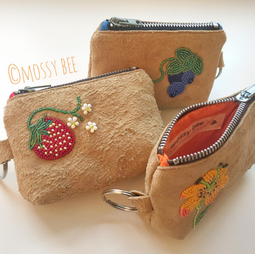 beaded bison leather change purse