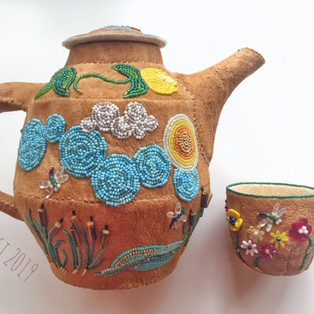 original design - beaded leather teapot and cup