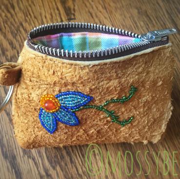 beaded smoked moosehide leather change purse