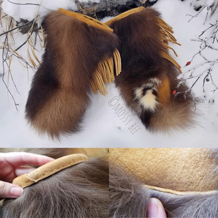 unisex wolverine fur gauntlets with smoked moose hide leather trim and palms
