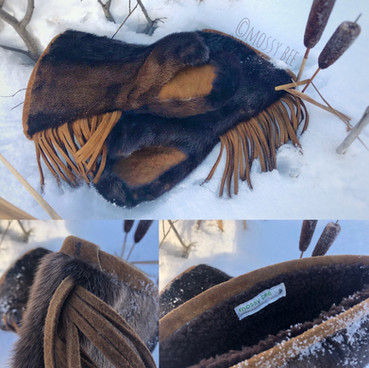men's otter fur gauntlets with smoked moose hide leather trim and palms