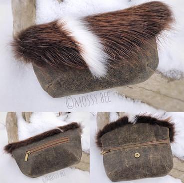 original design - distressed leather clutch purse with beaver and Arctic fox fur