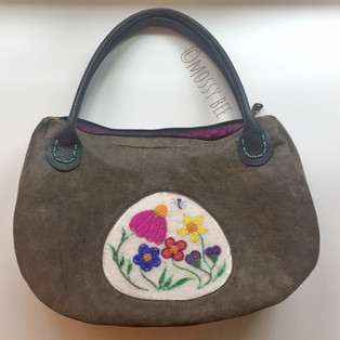 original design - distressed leather bag with fully beaded inlay
