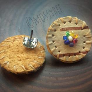 beaded birch bark and smoked moosehide leather stud earrings