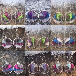 original design 'aurora' seal fur northern lights dangle earrings