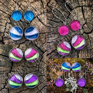 original design 'aurora' seal fur northern lights stud earrings