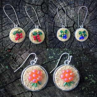 beaded bison leather berry earrings