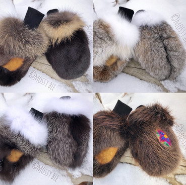 women's Canadian fur mitts with smoked moose hide leather palms