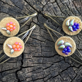 beaded leather berry hair clips