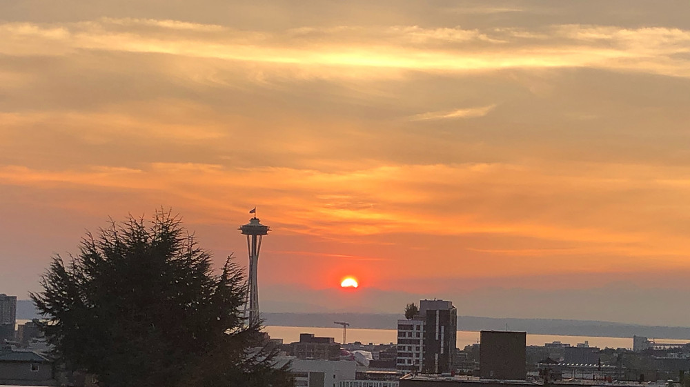 Sunset view of Space Needle